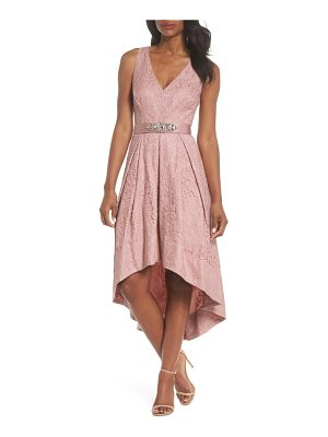 ELIZA J Belted Lace High/Low Dress