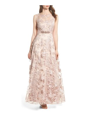 Eliza J embellished illusion yoke ballgown