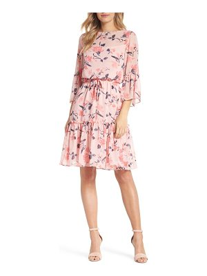 Eliza J floral bell sleeve chiffon dress