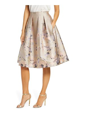 Eliza J floral metallic jacquard pleated skirt