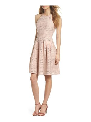 ELIZA J Laser Cut Fit & Flare Halter Dress