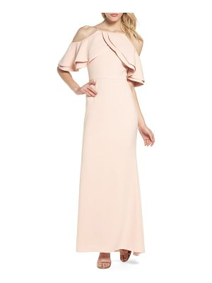 ELIZA J Ruffle Bodice Cold Shoulder Gown