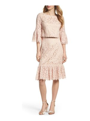 ELIZA J Ruffle Trim Lace Two-Piece Dress