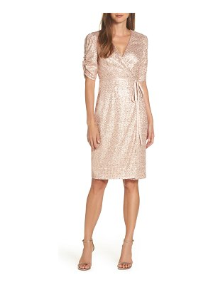 Eliza J sequin faux wrap dress