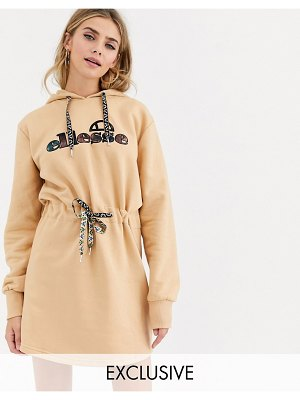 Ellesse hoodie dress with front logo and drawstring waist-tan