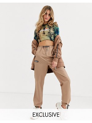 Ellesse tracksuit bottoms with geo print drawcords two-piece-brown