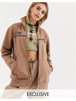 Ellesse tracksuit jacket with geo print taping two-piece-brown