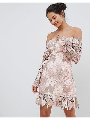 ELLIATT Bardot Tonal Lace Mini Dress