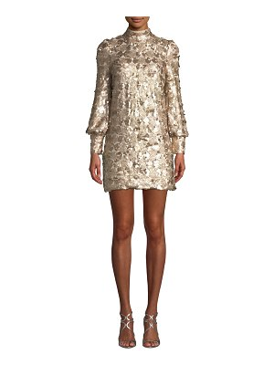 ELLIATT Joan Sequin High-Neck Blouson-Sleeve Mini Dress