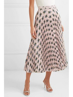 Emilia Wickstead pleated floral-print crepe de chine skirt