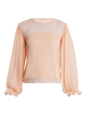 EMILIO DE LA MORENA Gathered Sleeve Silk Chiffon Blouse