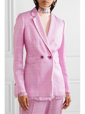 Emilio Pucci fringed houndstooth woven blazer