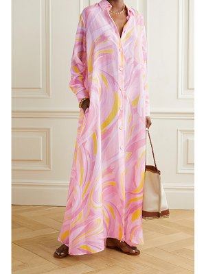 Emilio Pucci oversized printed cotton and silk-blend maxi shirt dress