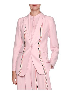 Emporio Armani Single-Breasted Sport-Stripe Silk Blazer