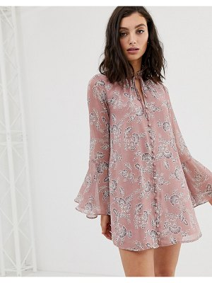 En Cr me en creme button up swing dress in vintage floral