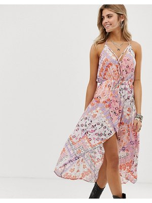 En Cr me en creme floral and tile print hi-low dress