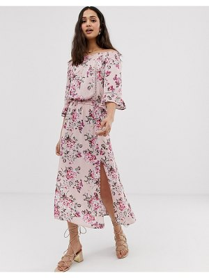 En Cr me off shoulder floral midi dress