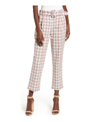 English Factory gingham check belted trousers