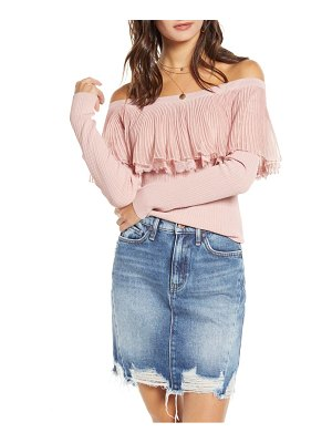 English Factory off the shoulder textured ruffle sweater
