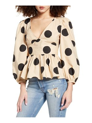 English Factory polka dot balloon sleeve top