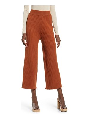 English Factory ribbed knit crop wide leg pants