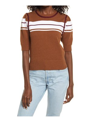 English Factory stripe puff sleeve sweater