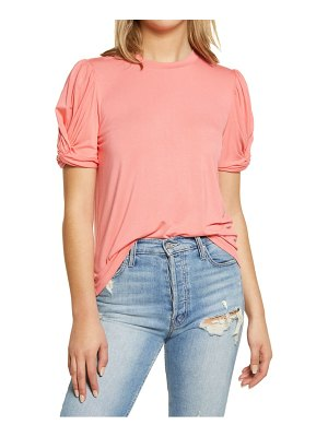 English Factory twisted sleeve stretch knit top