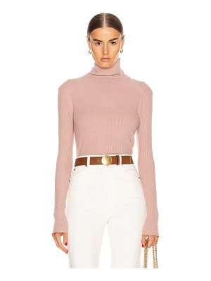 Enza Costa brushed rib split collar long sleeve top