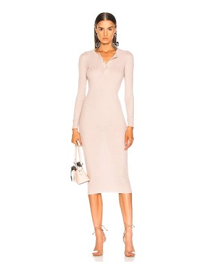 Enza Costa Cashmere Long Sleeve Henley Midi Dress