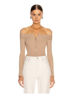 Enza Costa for fwrd rib exposed shoulder zip front long sleeve