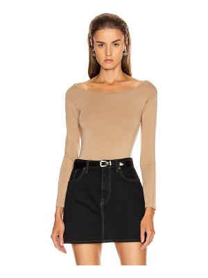 Enza Costa italian viscose long sleeve off shoulder bodysuit