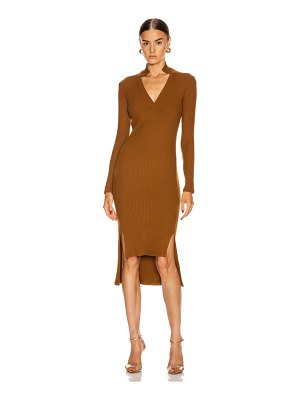 Enza Costa rib long sleeve step hem henley dress
