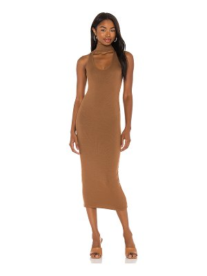 Enza Costa silk rib detached mockneck sleeveless midi dress