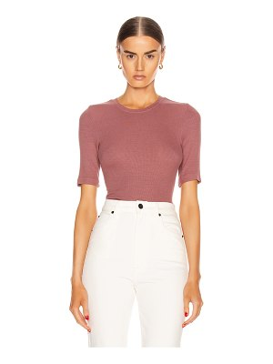 Enza Costa silk rib fitted half sleeve crew tee