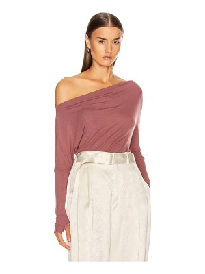 Enza Costa silk rib off shoulder long sleeve top