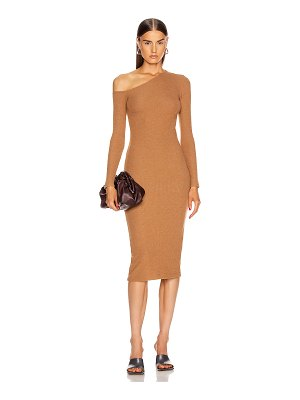 Enza Costa sweater knit angled neck midi dress