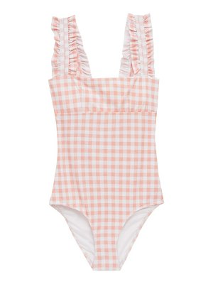 Ephemera ruffled-strap gingham swimsuit