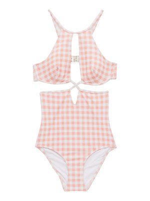 Ephemera underwired cutout gingham swimsuit