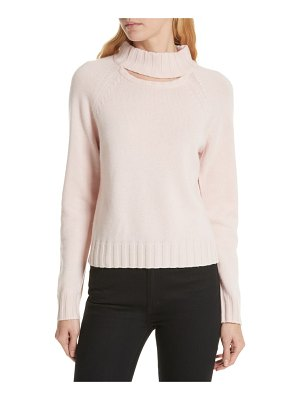 Equipment cutout detail mock neck wool cashmere sweater