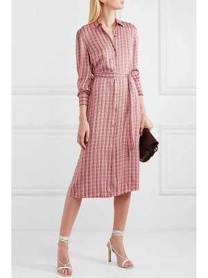 Equipment rosalee checked silk-blend satin midi dress