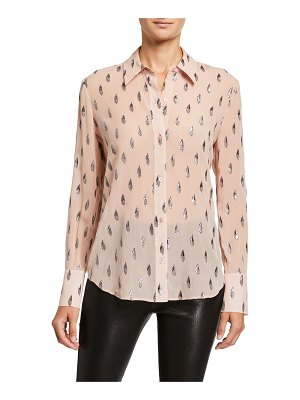 Equipment Sedienne Printed Long-Sleeve Button-Down Shirt