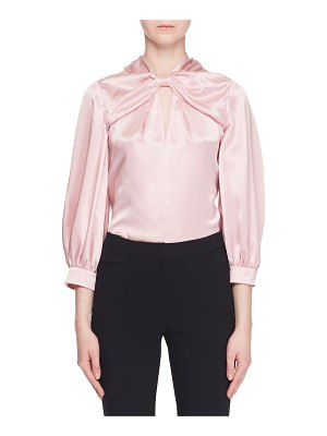 Erdem Bow-Neck Bracelet-Sleeve Cold-Shoulder Silk Blouse