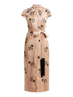 Erdem finn floral beaded silk satin dress