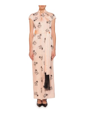 Erdem Finn Knotted-Neck Cap-Sleeve Embroidered Wrap-Sash Silk Long Dress