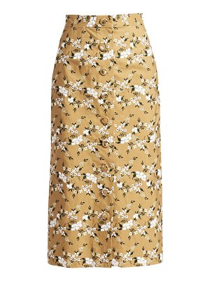 Erdem gainor floral embroidered button front pencil skirt