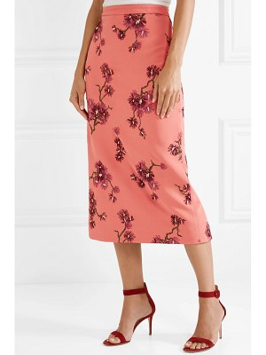 Erdem maira embroidered crepe midi skirt