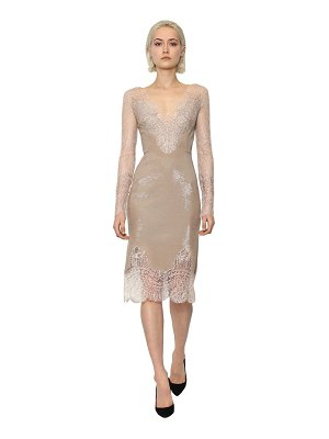 Ermanno Scervino Long sleeve shining lace midi dress