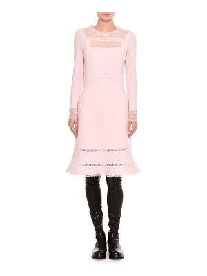 Ermanno Scervino Pashmina Lace-Inset Long-Sleeve Dress