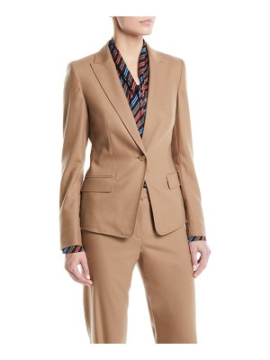 ESCADA Peak-Lapel One-Button Flannel Wool-Blend Jacket