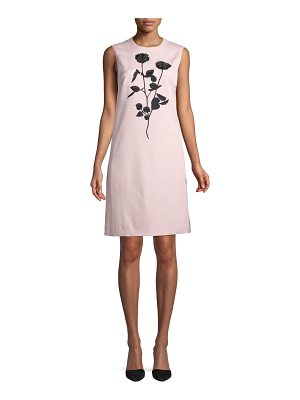 ESCADA Sleeveless Floral-Embroidered Sheath Dress